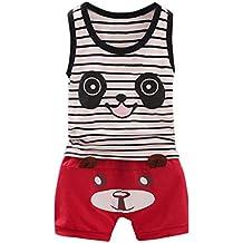 SMARTLADY 0~24 meses Niños Bebé Panda Patrón Camiseta sin mangas y Pantalones cortos