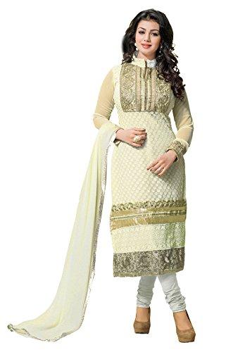 Khushali Women Georette Karachi Unstitched Salwar Suit Dress Material (White)