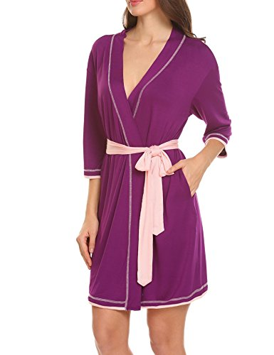 Unibelle Damen Bademantel Morgenmantel Nachtwäsche Kimono Schlafanzug Mit V Kragen Aus Baumwolle Nachthemd Saunamantel Lila