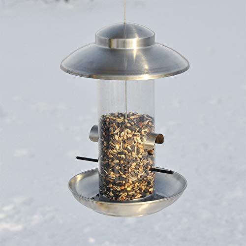 VOSS.garden Dänisches Vogelhaus Smøllebird, Edelstahl Dach mit Kunststoffröhre, Wetterbeständig, zum Aufhängen, Vogelfutterstation Vogelfutterspender Futterhaus Vogelhäuschen