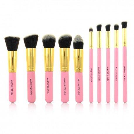 Set complet 10 pinceaux maquillage professionnels - Rose