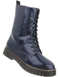 180d5484df83 Damen Stiefeletten Lack   Worker Boots Schnürung   Halbschaft Stiefel    Damenschuhe Schnürstiefel Leder-Optik   10 Loch Stiefel  …