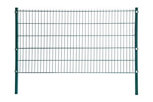 Home Deluxe Doppelstab-Mattenzaun - Komplett-Set - Höhe: 183cm - Länge: 4m - Verzinkt, Pulverbeschichtet & UV-Beständig - Moosgrün