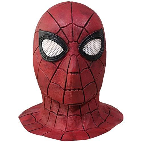 Spiderman Homecoming Kostüm Hood Mask Led Hero Helm für Männer und Jugendliche Latex Gesicht Karneval Deadpool Kinder Halloween,A,OneSize