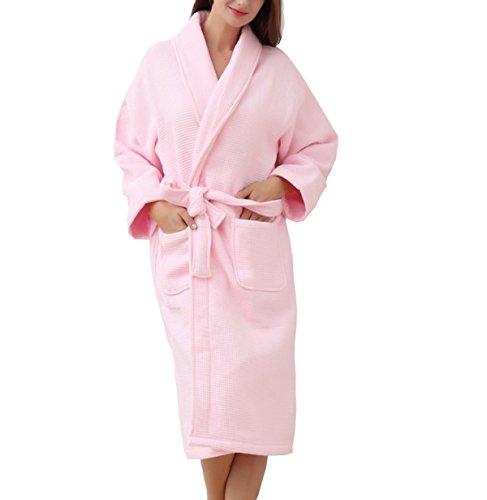 Accappatoi In Cotone Da Donna Winter Waffle Autunno Dress 100% Cotone Imbottito Comfort Yukata Spring Pink White Pink