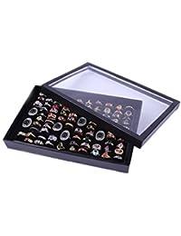 Ducomi® Caja pantalla de terciopelo para pendientes, anillos o Gemelos con 100compartimentos negro