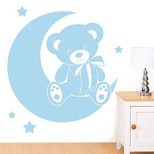 Ours sur la lune avec étoiles sticker mural pour enfant – Art Stickers en vinyle, facile à appliquer, sans applicateur, facile – enlever (Veuillez Choisir votre taille et couleur grâce à la sélection Boîtes) – par Rubybloom Designs, Bleu pastel, Large - 86cm x 95cm