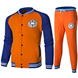 Herqw61 Dragon Ball Baseball Uniform Jacke und Hose Sport Pullover Mantel und Jogginghose(M Orange)