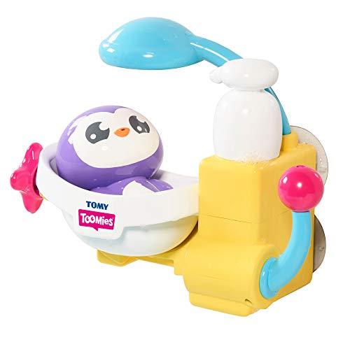 TOMY TOOMIES - Jouet de Bain Mon Pingouin Baigneur Violet E72610, Jouet de Bain Intéractif pour Bébés, Jeu pour Bain et Piscine, Jouet Éveil pour Bébé de 18mois+