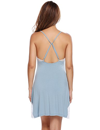 Ekouaer Damen Träger Nachthemd Spitze Nachtwäsche Modal Negligee Kurz Nachtkleid Weich Blau010