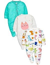 next Bebé Niña Pack De Tres Pijamas Coloridos Gatos Rosa/Blanco/Verde Azulado (0 Meses - 2 Años) Corte Estándar