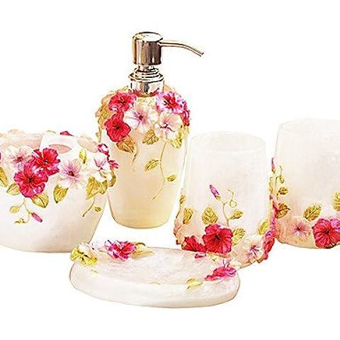 Ensemble di bagno,5 Pezzo in stile country bianco materiale ABS,bagno