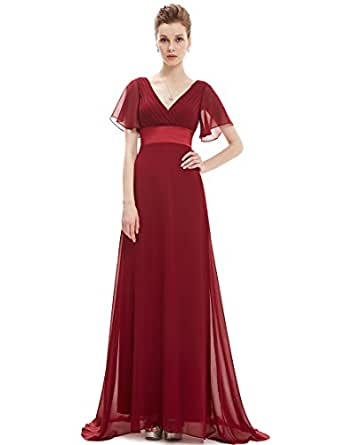 Ever Pretty Damen V-Ausschnitt Lange Abendkleider Festkleider 6UK Rot