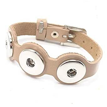 "Time4-Charms Chunks Chunk Lederarmband mit Dornschließe Armband "" Farbwahl "" Click Button Chunk (Verstellbar von ca. 17 cm bis 22 cm, beige)"