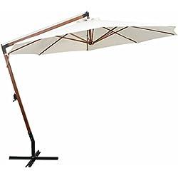 Tidyard Parasol Balcon | Parasol Deporte | Parasol Plage Pliable | Parasol Plage Anti UV Blanc avec Poteau en Bois 350 cm