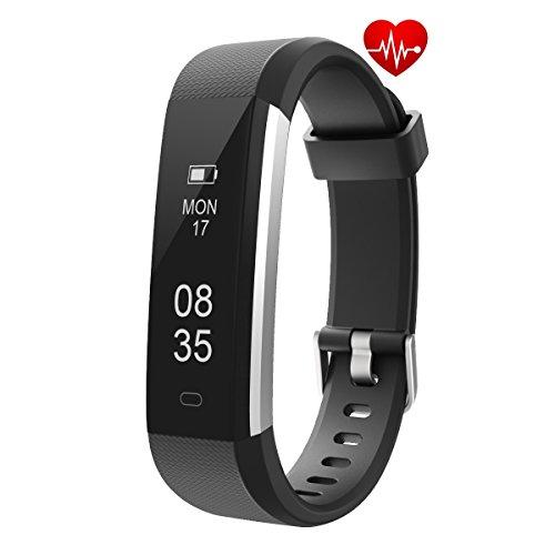 TOOBUR Fitness Armbanduhr, Schmal Wasserdicht Fitness Tracker mit Herzfrequenz Schrittzähler Schlafmonitor und Kalorienzähler, Aktivitätstracker Armband Uhr für Damen Herren und Kinder-Schwarz