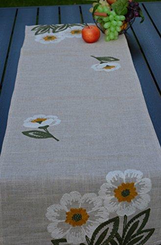 Tischläufer Tischband Läufer Blume Kurbelstickerei Leinenoptik Landhaus 40/140 cm Beige/Bunt (Läufer Blumen)