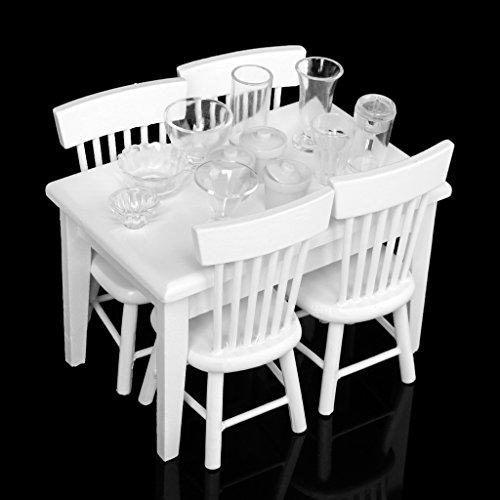 Scala 1/12 Casa Delle Bambole In Miniatura - 5pz Sedia e Tavolo Da Pranzo In Legno Bianco Mobili Cucina