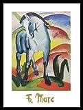 Franz Marc Poster Kunstdruck Bild Blaues Pferd I 60x80cm mit Alu Rahmen in schwarz - Kostenloser Versand