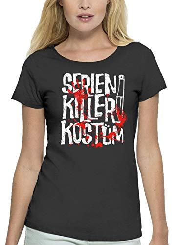 Kostüm Lady Killer - Fasching Karneval Gruppen Premium Bio Baumwoll Damen Frauen T-Shirt Stanley Stella Serien Killer Kostüm, Größe: XXL,Anthrazite