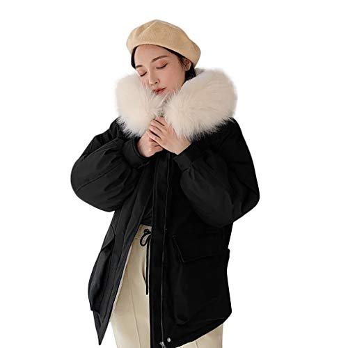 serliyDamen Winterjacke mit Pelzkragen Fleecejacke Mit Kapuze Hooded Outwear Mäntel Wintermantel Winter Lambswool Mantel Outwear Pullover Wolljacke Sweatshirt Slim Windbreaker Winterjacke -