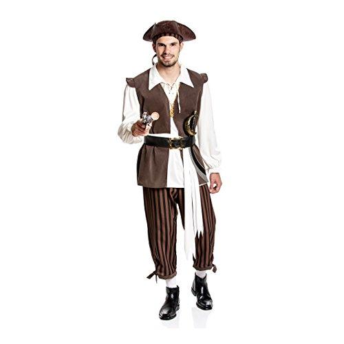 Kostümplanet® Piratenkostüm Herren 6-TLG. 56/58 (Karneval Kostüm Deutschland)