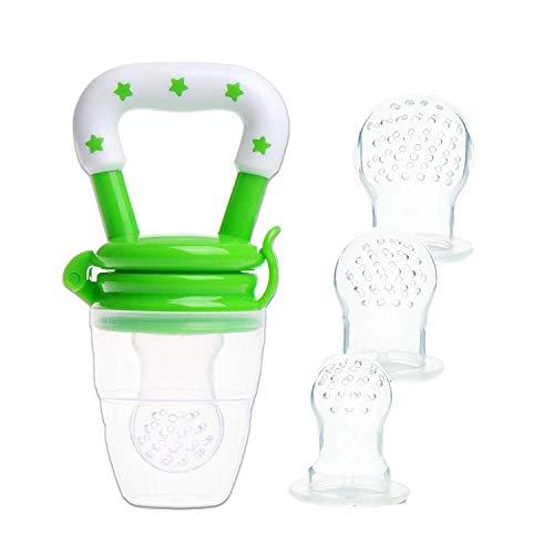 Ciuccio per Frutta, Yisscen Ciuccio per Alimenti/Frutta per Bambini Include i Sacchetti in Silicone di 3 le Taglie (S, M, L) - Alimentatore di Alimenti Freschi per Neonati (Verde)