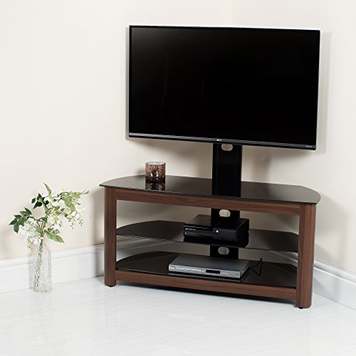 Walnut High Gloss Tv Stand Black Glass Wood Wooden Decor 32 37 40 42 46 50 52 55 (4 Side Walnut Decor, 1080mm)