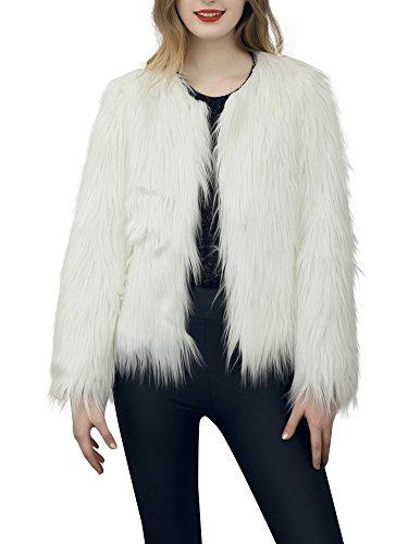 Simplee Apparel Damen Winter Warme Elegant Luxuriös Kunstfell Dick Fell Mantel Weiß Beige Schwarz Rosa (Jacke Weiße Mantel)