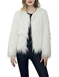 simplEE prendas de vestir las mujeres de otoño invierno elegante cálido abrigo largo de piel sintética de pelo chaqueta Outwear