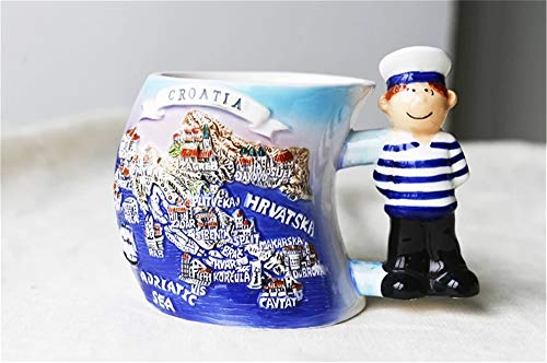 Weekinglo Hrvatska Kroatien 3D Emboss Handgemalte Keramik Kaffeetasse Tasse Handgefertigte Handwerk Tourist Reise Souvenir Sammlung Geschenk 12 Unze