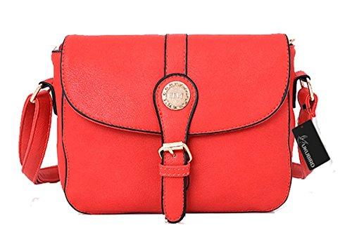 Kukubird Rebecca Qualità Ecopelle Crossbody Design Top-manico Spalla Tote Handbag Red