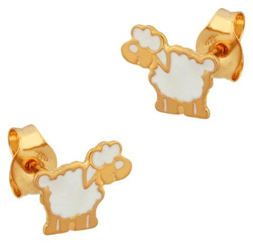 LP Créations - 257800 : Boucles d'oreille Enfant Or 18K jaune et Laque - Mouton