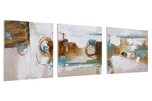 KunstLoft® Acryl Gemälde 'Rätselhafte Aussicht' 120x40cm | original handgemalte Leinwand Bilder XXL | Abstrakt dreiteilig braun grau | Wandbild Acrylbild moderne Kunst mehrteilig mit Rahmen