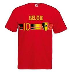 Fußball WM T-Shirt Fan Artikel Nummer 10 - Weltmeisterschaft 2018 - Länder Trikot Jersey Herren Damen Kinder Belgien Belgie Belgique Belgium L