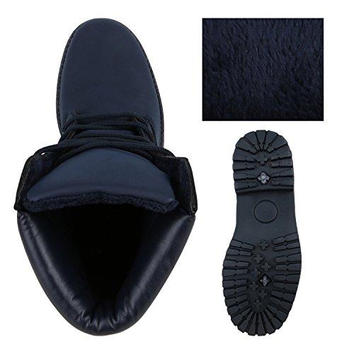 Gefütterte Herren Outdoor Worker Boots Schnürstiefel Profilsohle Dunkelblau