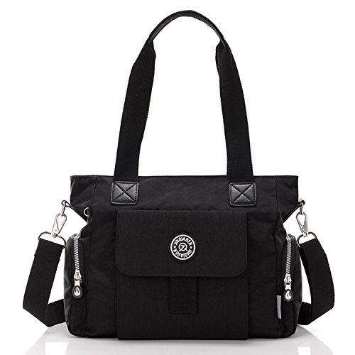 Outreo Umhängetasche Mädchen Schultertasche Designer Taschen Damen Kuriertasche Wasserdichte Sporttasche Reisetasche Handtasche Messenger Bag für Strandtasche Nylon Schwarz