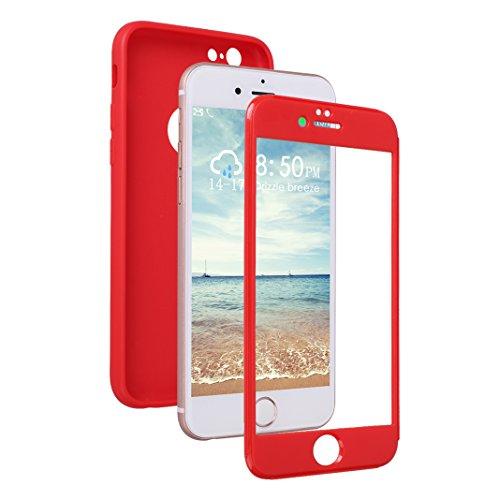 Coque iPhone 6/6S Hybride Case, Moon mood® 360 Degres Protector Housse en Plastique PC Rigide + Souple TPU Bumper Arrière Étui pour Apple iPhone 6S Coque de Protection Antichoc Couverture Ultra Mince  Rouge