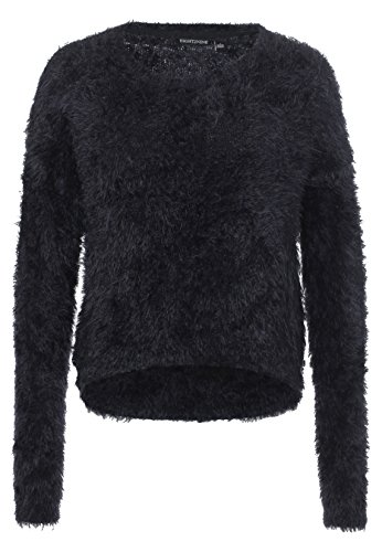EIGHT2NINE Damen Strickpullover Cropped | Feinstrick-Pullover im Hairy-Look uni mit Rundhals-Ausschnitt black M