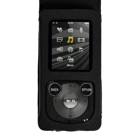 igadgitz-Schwarz-Leder-Tasche-fr-Sony-Walkman-NWZ-E384-mit-Karabinerhaken-Displayschutzfolie