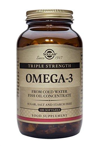 Solgar® Omega 3 triple concentración, 100 Cápsulas - Aceite de pescado concentrado...