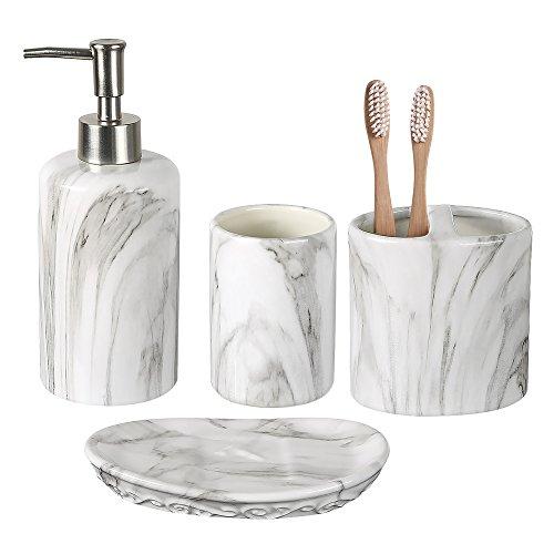 COOSA Keramik Badzubehör Set, 4 Stück Bad Ensemble, Bad Set Kollektion Marmor Muster Seifenspender, Zahnbürstenhalter, Zahnputzbecher, Seifenschale (Weiß) -