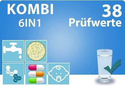 KOMBI PLUS Trinkwassertest TOTAL + Bakterien Hygiene Test mit 38 Prüfwerten