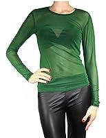 Damen Vintage Transparent Tüll Langarm Tunika / Form Shirt S M L
