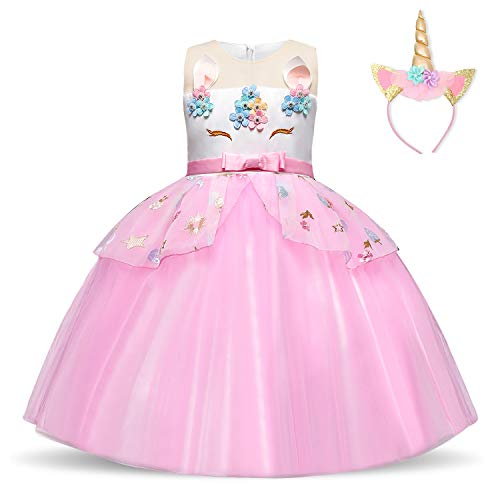 Mädchen Kostüm Mit Pony - NNJXD Mädchen Einhorn Kleid Blume Applique Party Cosplay Halloween Phantasie Kostüm Headwear Größe (130) 5-6 Jahre Rosa