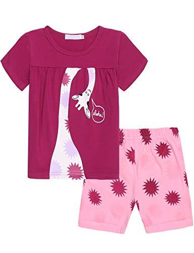 Lila Baumwoll-pyjamas (Bricnat Mädchen Schlafanzug Giraffe Drucken Nachtwäsche Baumwolle Kinder Frühling Sommer Bekleidung Pyjama Set Rosa Kurze Ärmel Pyjama Zweiteiliger Schlafanzug Shorty)