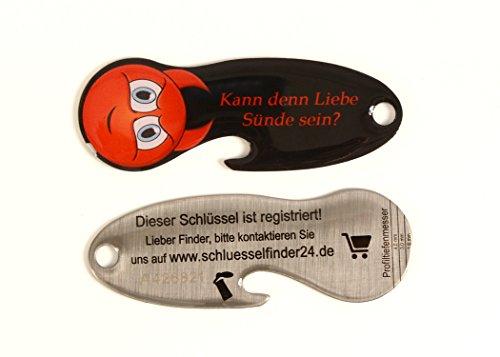 Code24 Einkaufswagenlöser Smilkey \'Kann denn Liebe Sünde sein\', Schlüsselanhänger mit Einkaufschip & Schlüsselfinder, inkl. Schlüsselfundservice Registriercode, Einkaufswagenchip mit Flaschenöffner
