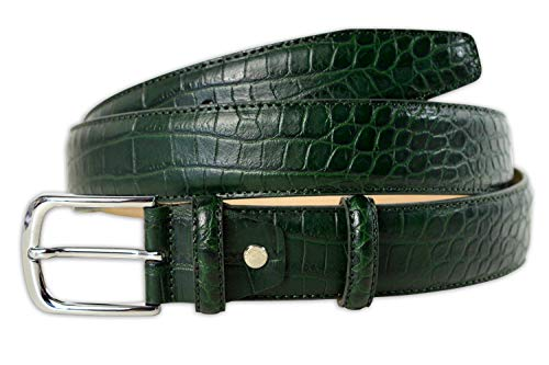 Pasquale Cutarelli Cinturón de Cuero Italiano para Hombre con Patrón de Cocodrilo Verde XX-Large 115cm