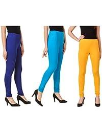 Svadhaa High Quality Cotton Women Leggings Aqua Royal Blue Yellow Leggings For Women(Pack Of 3)