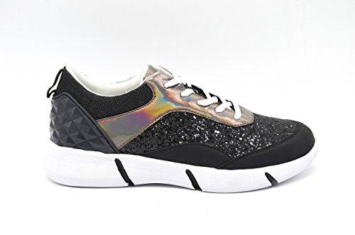 Oh My Shop SHY19b * Baskets Running Sneakers Paillettes et Hologramme avec Semelle Blanche - Mode Femme Noir